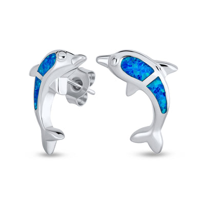 Created Blue Opal Nautical Dolphins Stud Earrings 925 Sterling Silver