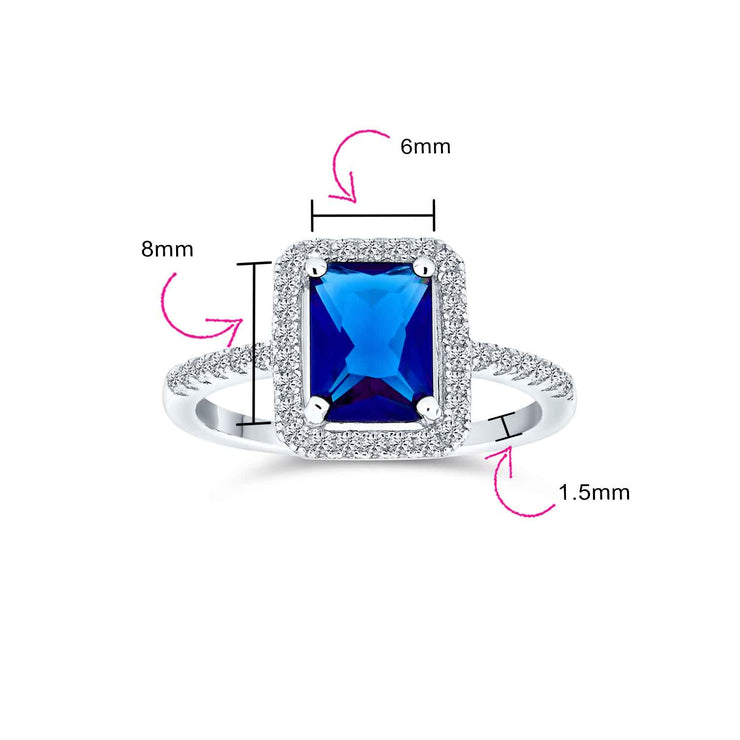 3CT CZ Blue Imitation Sapphire Emerald Cut Engagement Ring 925 Silver