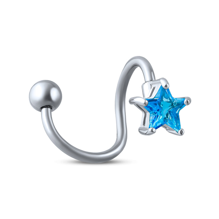 Aqua Blue Star Cubic Zirconia CZ Bar Navel Belly Ring Stainless Steel