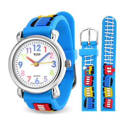 Choo Choo Train Wrist Watch Quartz 3D Cartoon Blue Silicone Wristband
