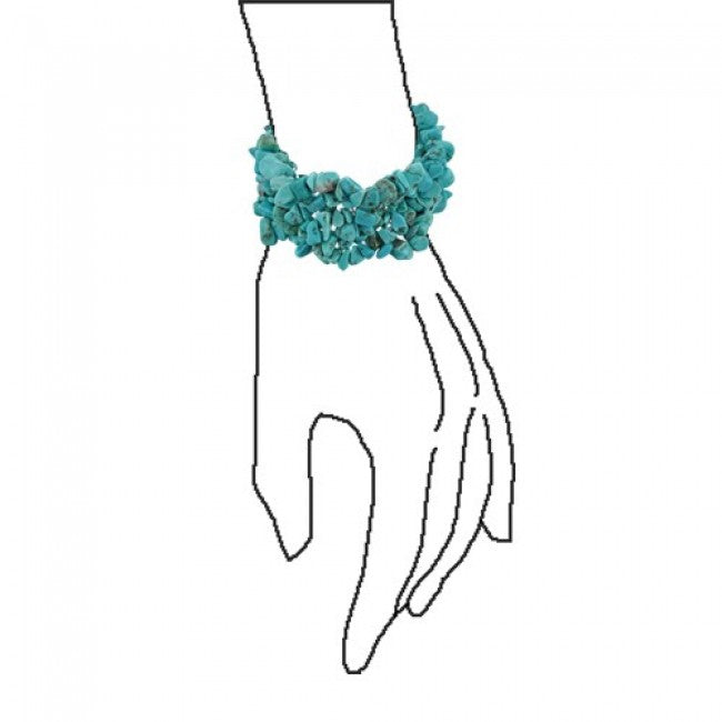 Turquoise Bib Statement Necklace Stretch Bracelet Silver Plated