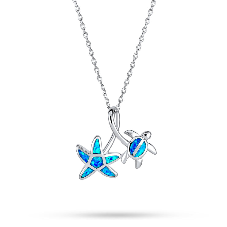 Starfish Turtle Blue Created Opal Pendant Necklace Sterling Silver