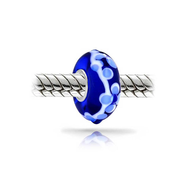 3D Royal Blue White Flower Murano Glass Lampwork Bead Charm 925 Silver