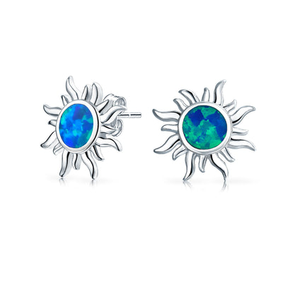 Created Blue Opal Sun Burst Stud Earrings in 925 Sterling Silver