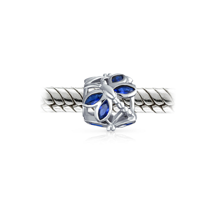 Blue CZ Butterfly Bead Charm Blue Imitation Sapphire Sterling Silver