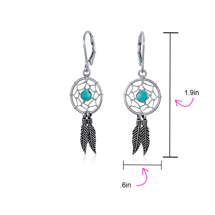 Boho Turquoise Dream Catcher Feather Dangle Earrings Sterling Silver