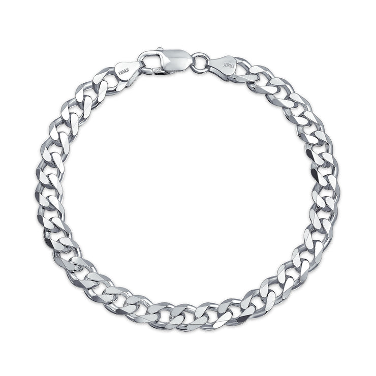 Cuban Curb Link Bracelet 200 Gauge Sterling Silver Made In Italy 9in