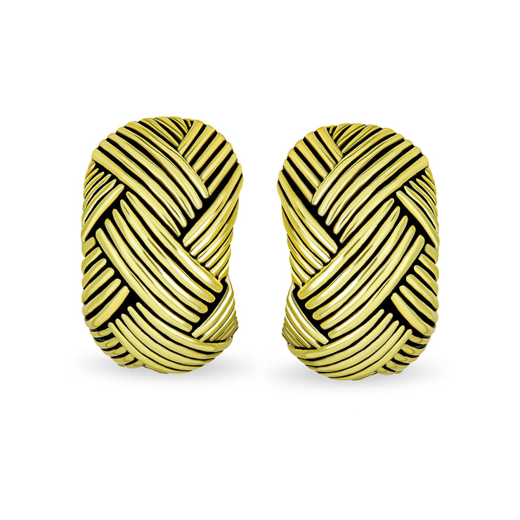 Woven Braided Basket Weave Hoop Clip On Earrings Ears Gold Plated