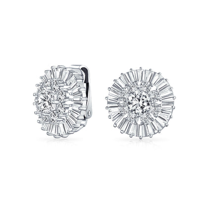 Wedding CZ Baguette Pave Round Clip On Earrings Ears Silver Plated
