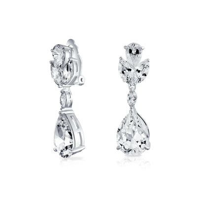 Bridal Wedding Teardrop CZ Dangle Clip-On Earrings Prom Silver Plated