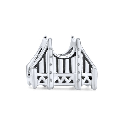 Golden Gate Bridge San Francisco L mark Charm Bead Sterling Silver