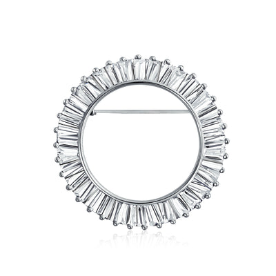 Eternity Baguette Cut Circle of Life Pin Brooch Silver Plated