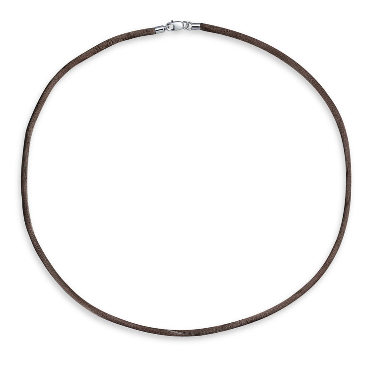 Brown Satin Silk Necklace Pendant Cord Silver Plated 16 Inch