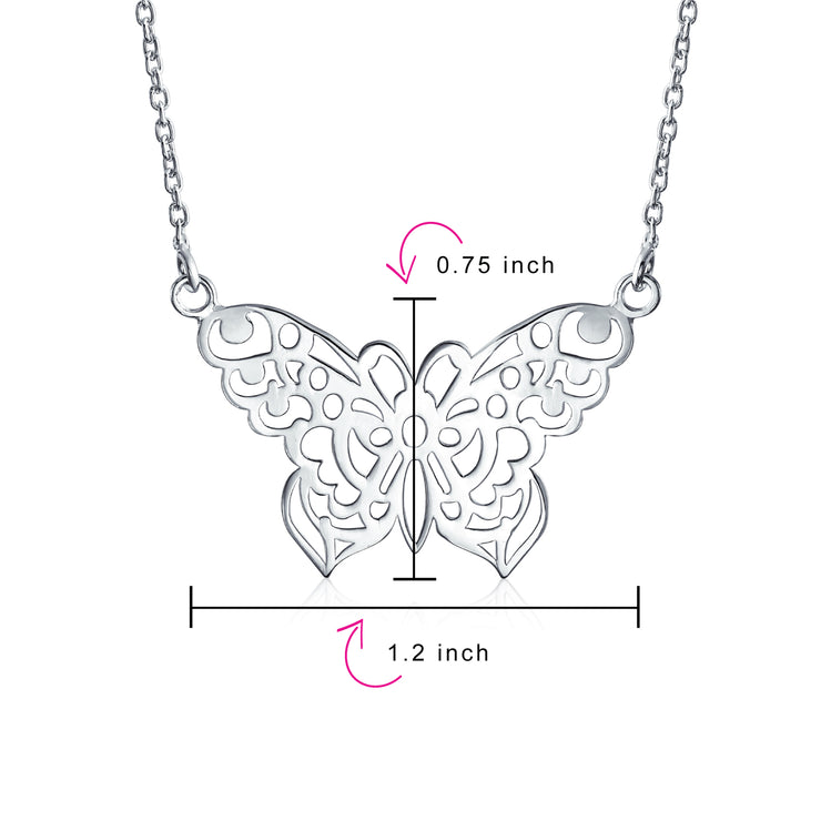Large Butterfly Necklace Filigree Statement Pendant Sterling Silver