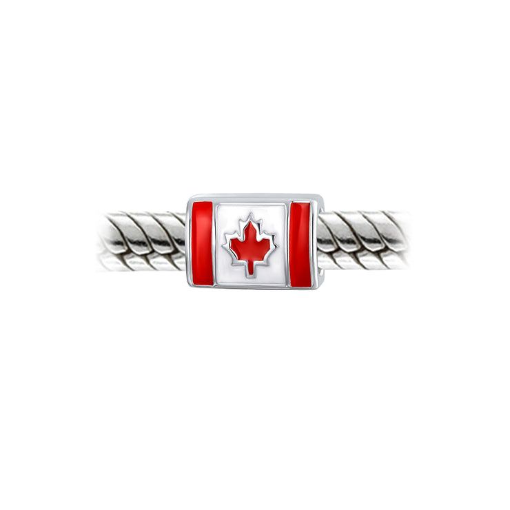 Travel Canada Flag Maple Leaf Traveler Bead Charm 925 Sterling Silver