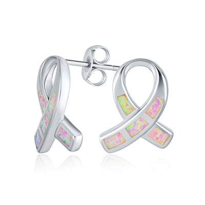 Created Opal Pink Ribbon For Breast Cancer Awareness Stud Earrings