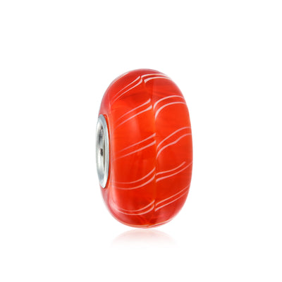 Orange Candy Cane Stripe Murano Glass Bead Charm 925 Sterling Silver