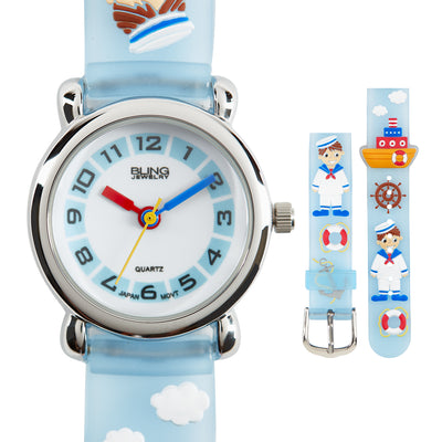 Sailor Waterproof Wrist Watch Time Quartz 3D Blue Silicone Dial
