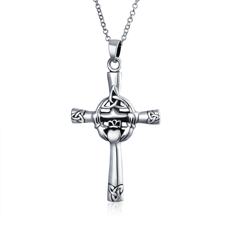 Claddagh Celtic Trinity Cross Knot Pendant Sterling Silver Necklace