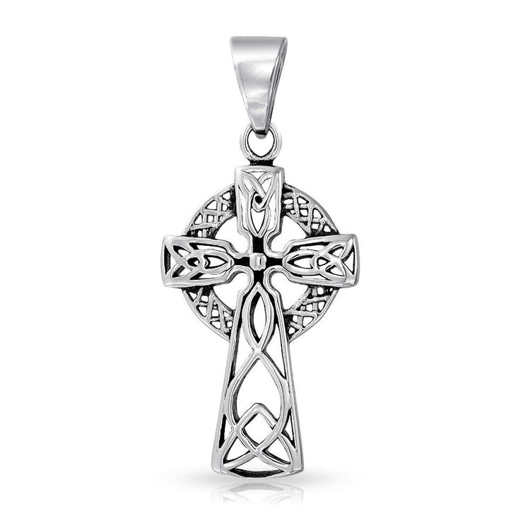 Celtic Knot Irish Cross Pendant Necklace Stainless Steel Ball Chain