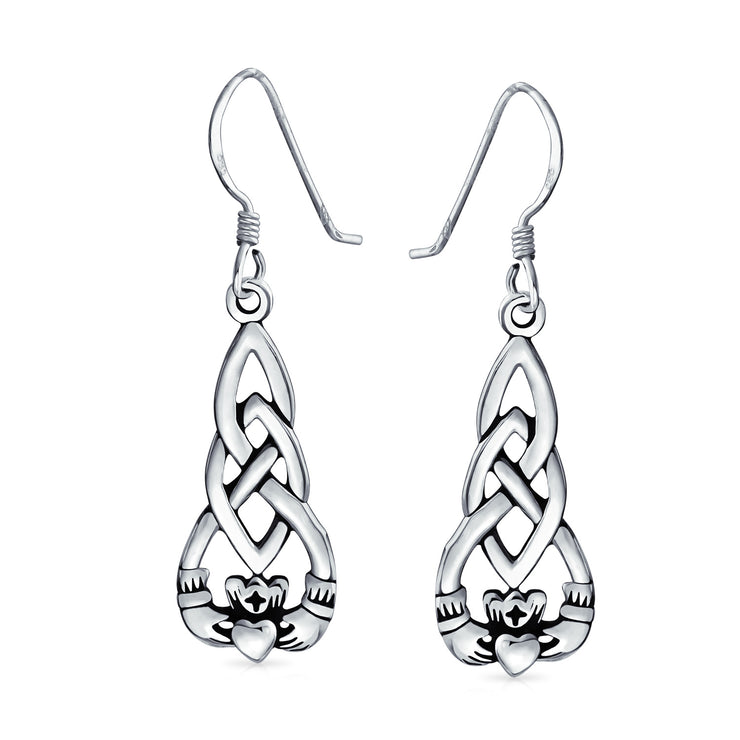 Claddagh Celtic Friendship Love Knot Dangle Earrings Sterling Silver