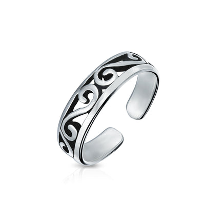 Cut-Out Celtic Swirl Filigree Thin Midi Band Toe Ring Silver Sterling