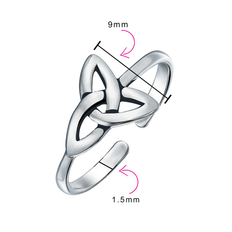 Celtic Trinity Knot Triquetra Shape Midi Toe Ring Band Silver Sterling