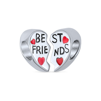 Best Friends BFF Split Red Heart Two Piece Charm Bead Sterling Silver