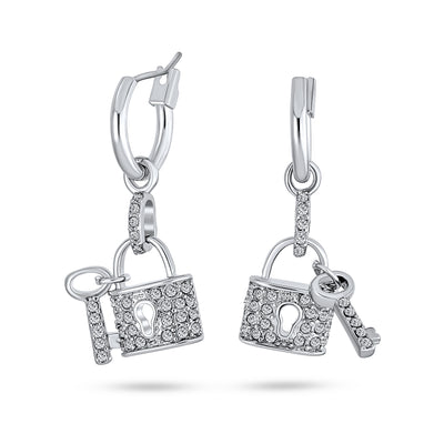 Partner In Crime Crystal Lock Charm Earrings Couples Silver Plated