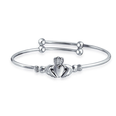 Claddagh Heart Friendship Bracelet Small Wrists 6.5in Sterling Silver