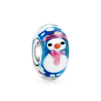 Christmas Winter Snowman Bead Charm Murano Glass 925 Sterling Silver