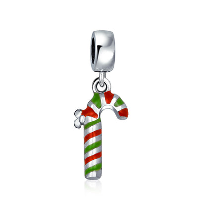 Christmas Stripe Candy Cane Dangle Charm Bead 925 Sterling Silver