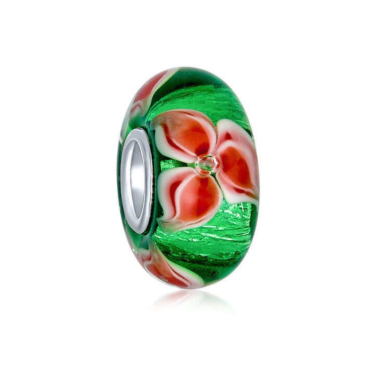 Holiday Christmas Flower Poinsettia Murano Glass Bead Charm Sterling