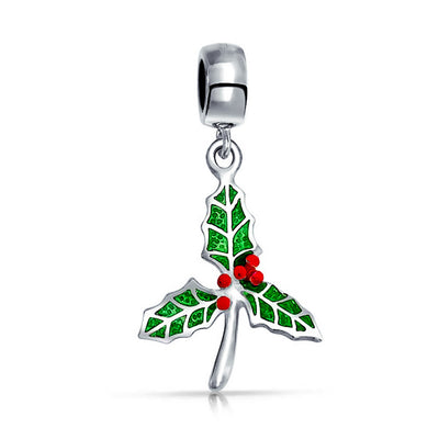 Holiday Christmas Mistletoe Holly Dangle Charm Bead Sterling Silver