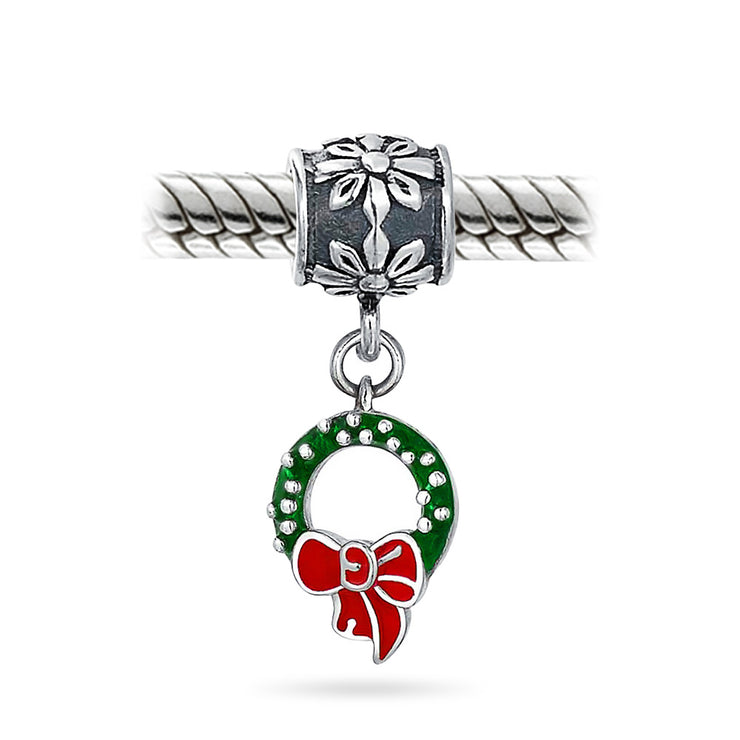 Holiday Christmas Green Wreath Red Bow Dangle Charm Bead 925 Sterling