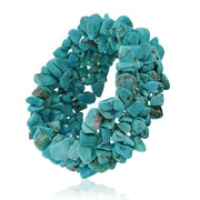 Blue Turquoise Chip Stone Chunky Cluster Multi Strand Stretch Bracelet