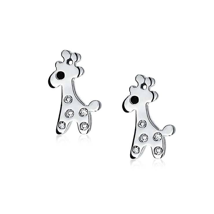 Lover Cartoon Cubic Zirconia Giraffe Stud Earrings Sterling Silver