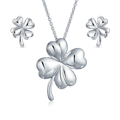 Leaf Clover Shamrock Pendant Earring Set Necklace 925 Sterling Silver