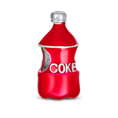 Soda Lover Red Enamel Drink Coke Bottle Charm Bead 925 Sterling Silver