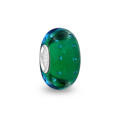 Blue Green Bubble Murano Glass 925 Sterling Silver Bead Charm