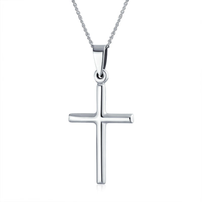 Simple Tube Religious Cross Pendant Necklace 925 Sterling Silver
