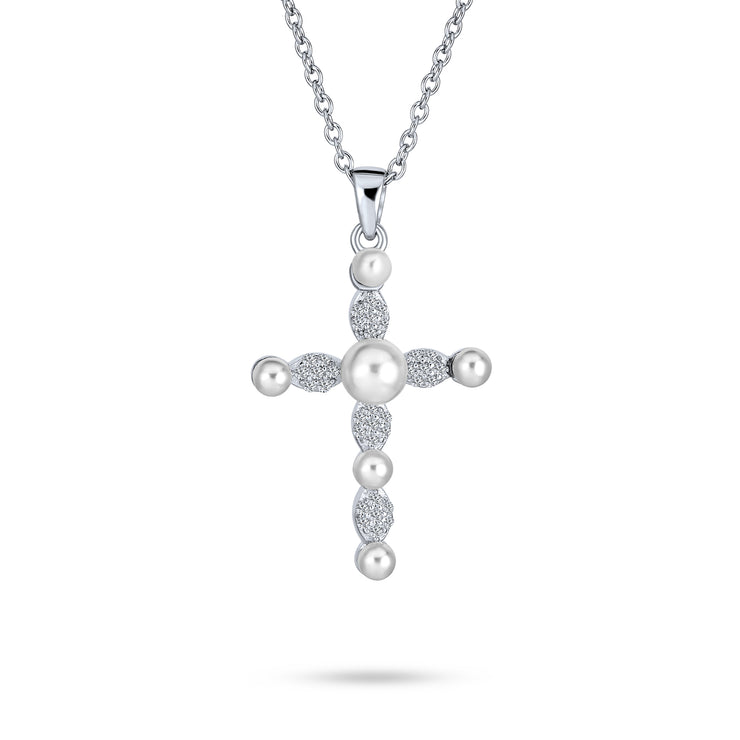 Cross Pendant Pearl CZ Sterling Silver Necklace For Women 16 Inch
