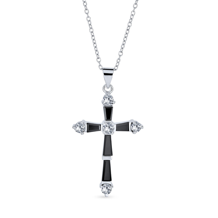 Vintage Style Black and Baguette Cross Pendant Silver Plated Necklace