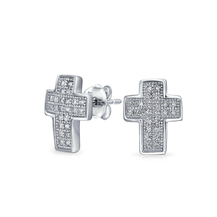 Cross Religious CZ Micro Stud Earrings Cubic Zirconia Sterling Silver