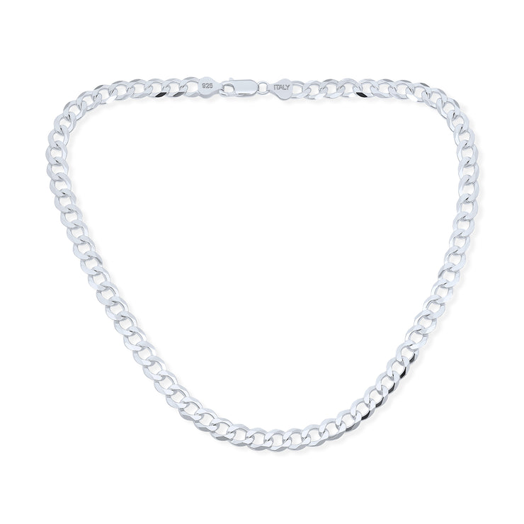 Solid Curb Cuban Link Chain 180 Gauge Heavy Necklace Sterling Silver