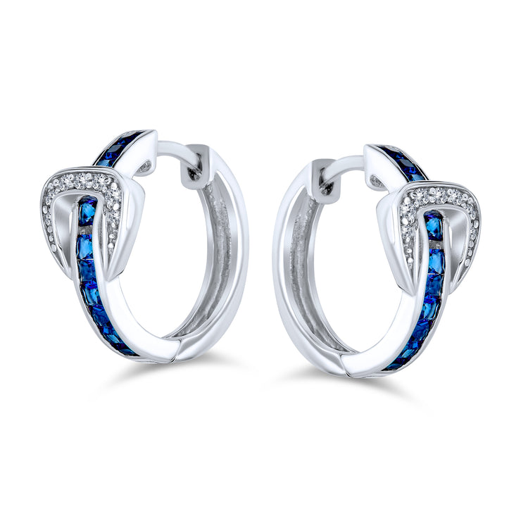 Belt Buckle Blue CZ Hoop Earrings Channel Set Sterling Silver