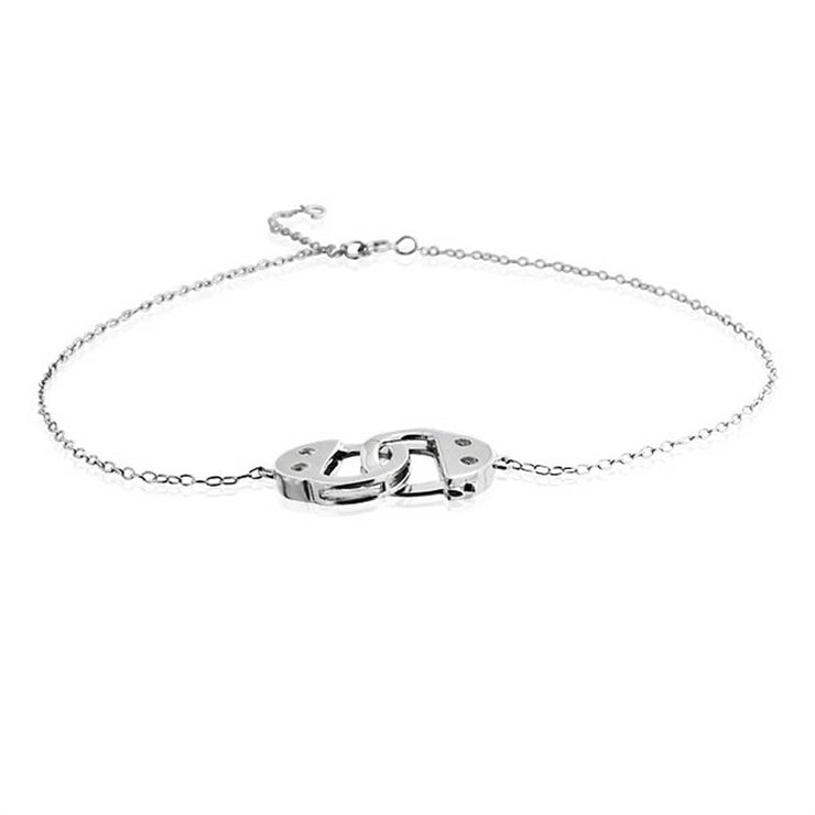 Handcuff Interlocking Hotwire Anklet Charm Anklet Link Sterling Silver