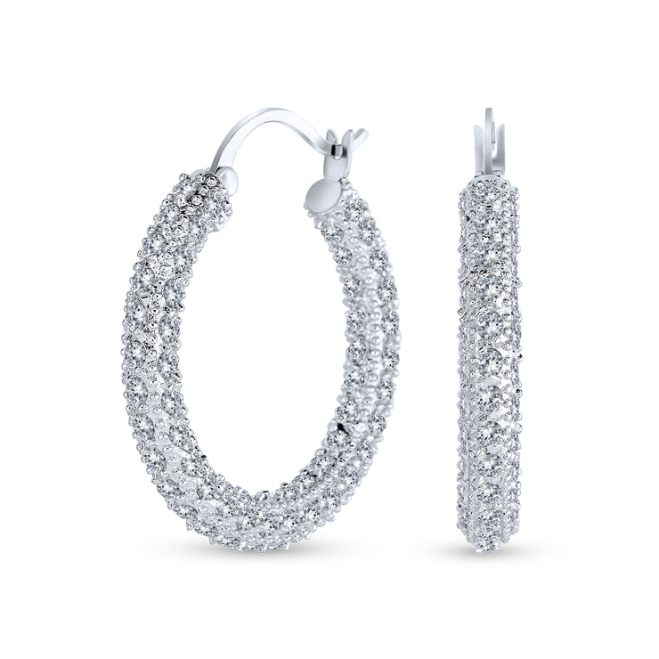 Bridal Pave CZ Encrusted Prom Statement Hoop Earring Silver Plated