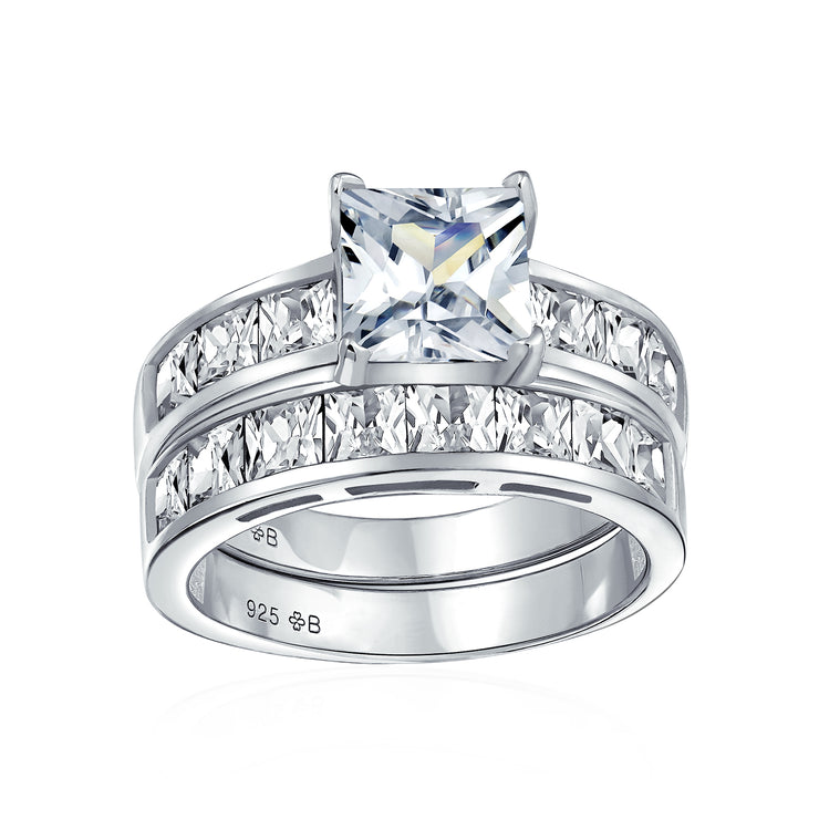 2CT Solitaire AAA CZ Band Engagement Wedding Ring Set Sterling Silver