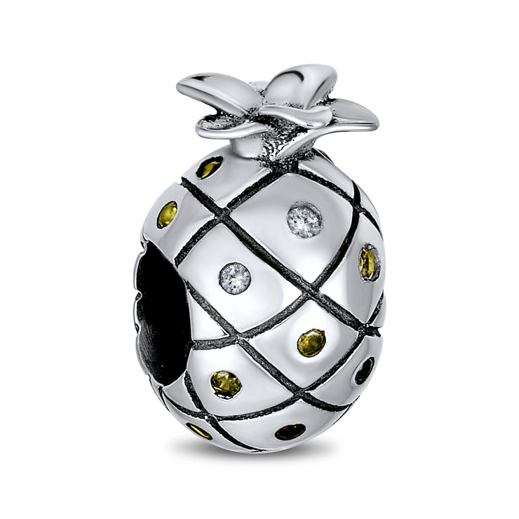 Tropical Pineapple Fruit Golden CZ Travel Charm Bead Sterling Silver